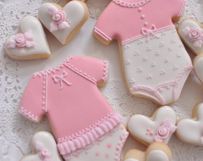 12 Girl's Onesie Cookie Favors - for baby showers or birthdays, baby onesie cookies