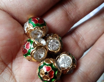 Meenakari round bead with gemstones, clear, Indian beads x 10, 12mm