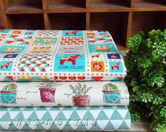 3 pieces Cyan Group Series Color Collection Cotton Cloth Quilt Fabric-DIY Handmade Fabric Cloth