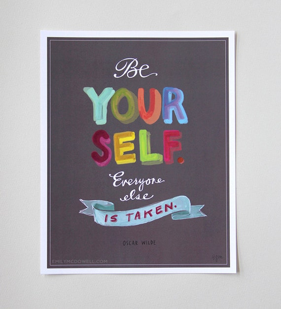 "Motivational Quote: Oscar Wilde ""Be Yourself"" Inspirational Print 11""x14"" Hand-Lettered Typography"