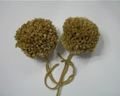Tan Yarn Pom Poms Handmade - Set of 2 Large
