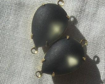 Vintage Smokey Grey Pearshape 24MM Rhinestone Teardrop Brass Setting Pendant 2R
