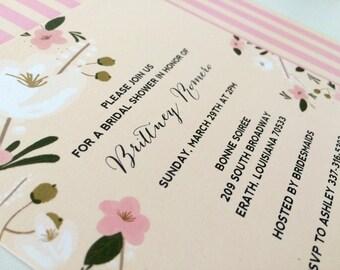 Vintage Retro Flower Floral Pink Peach White Cream Striped Painted Trendy Calligraphy Unique Modern Elegant Bridal Shower Invitation