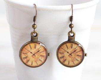 World Map Clock Earrings Antique map Earrings Brass earrings  3/4 inch (16mm) Simple Brass Clock Earrings Retro Clock Antique earrings