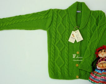 ALPACA jacket, 3 to 6 years old, hand knitted sweater,cardigan, baby, apple green, Ready to ship. Febress baby