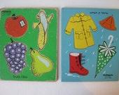 Playskool Puzzale Wood Tray When It Rains Fruits I Like 4 Piece Lot of 2 Vintage E868Bs