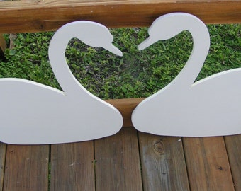 """2 24"""" swans that when combined make a heart at the Neck. Wedding Book Alternative"""
