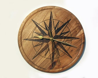 wind rose wooden wall clock