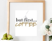 Coffee Quote Print Inspirational Kitchen Poster Typography Art Office Wall Decor