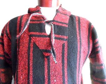 Vintage 80s 90 S Two Tone Red Black Vertical Stripe Baja