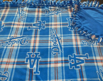 MLB Los Angeles Dodgers Blue and White Plaid Fleece Tie Blanket- XX- LARGE