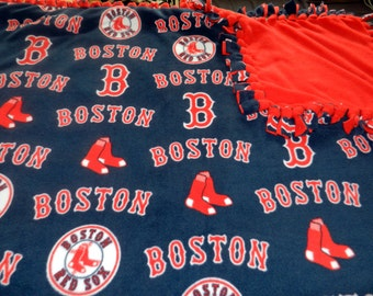 MLB Boston Red Sox Baseball Fleece Tie Blanket