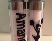 24oz Personalized cheer sports flip top water bottle