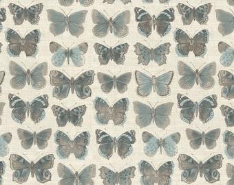 Fat Quarter Vintage Butterflies Cream Cotton Quilting Fabric - Makower