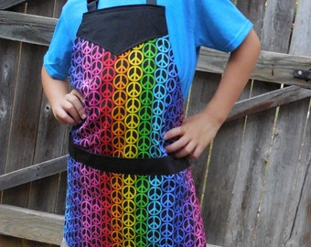 Hippie Rainbow Peace Sign Apron-Kids Size 10