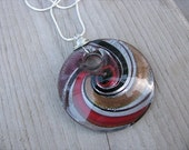 JEWELRY SALE- Maroon Murano Glass Necklace- Coin-Shaped Pendant