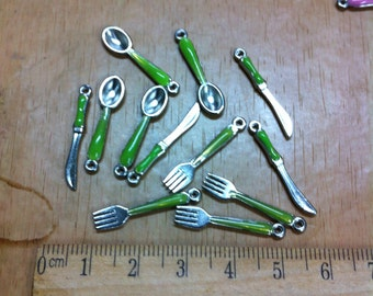 Handprinted miniature green cutlery