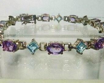 Purple Amethyst & Blue Topaz Sterling Estate Bracelet 925 Gemstone Jewelry - Lisa LePaige