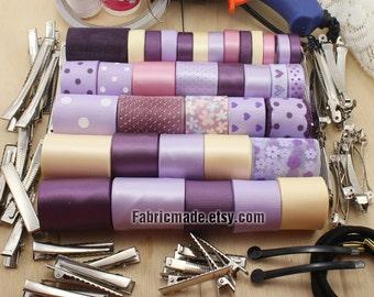 36 Yards Grosgrain Satin Ribbon Lot Solid Polka Dots Flower in Purple Lilac Beige- 1 yard each