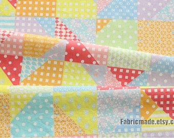 Linen Blended Fabric, Triangle Plaid Patchwork Fabric, Dots Flower Patch Linen - 1/2 Yard