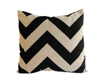 "Pillow cover One 18"" x 18"" chevron black pillow beige pillow cushion cover"