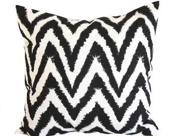 Black chevron ikat pillow cover One cushion covers black and white throw pillow covers black modern decor