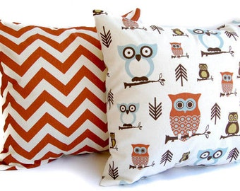 Throw pillow covers, Pillow Shams, Cushion Covers Rust, Natural, and Smokey Blue - Chevron zig zag and Owls fall home decor
