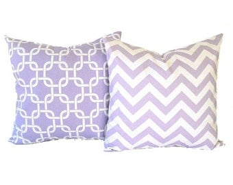 "Lavender throw pillow covers set of two 16"" x 16"" wisteria purple and white Chevron zig zag and Gotcha modern home decor"