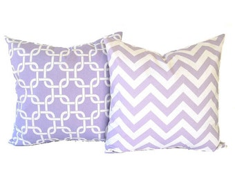 "Lavender throw pillow covers set of two 20"" x 20"" wisteria purple and white Chevron zig zag and Gotcha modern home decor"