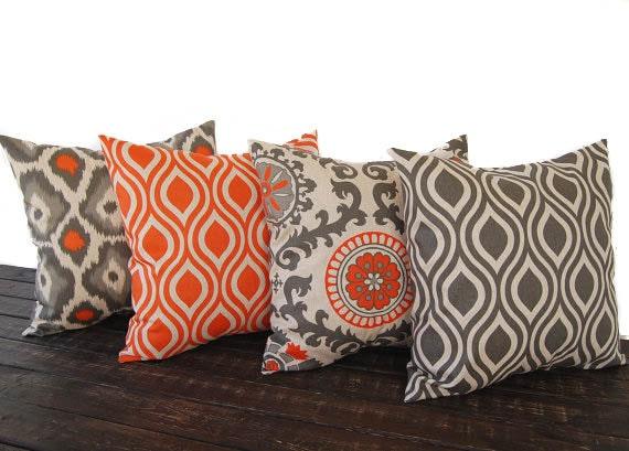 Throw Pillow Cover 18 X 18 : Throw pillow covers 18 x 18 Set Of Four orange