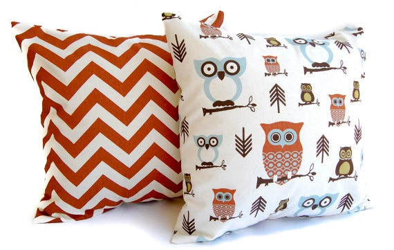 Smokey Blue Throw Pillows : Items similar to Throw pillow covers, Pillow Shams, Cushion Covers Rust, Natural, and Smokey ...