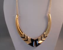 Gold Tone and Black Metal Bib Necklace