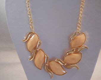 SALE Bib Necklace with Gold Tone and Peach Color Beads on a Gold Tone Chain