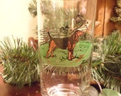 Beagle Hound  Water Tumbler  Drinking Glass  13 oz   Signed Landbril   (T)