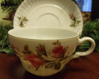 Delicate Rose Bud Porcelain Tea Cup and Saucer,  Japan Tea Cup & Saucer