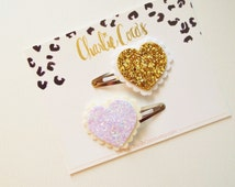 Glitter Heart Hair Clips- Baby/Girls White and Gold Glitter Heart Hair Clips, Valentine Glitter Heart Hair Clip Set by Charlie Coco's
