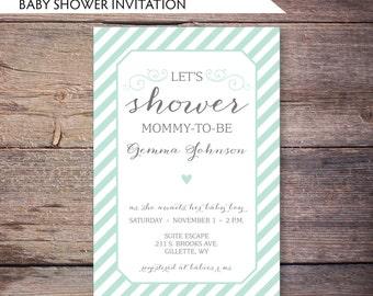 Printable Modern Baby Shower Invitation, Mint and Gray Baby Shower Card, Gender Neutral, Script, Modern, DiY Digital File - Gemma