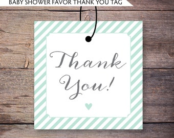 Printable Thank You Tags, Mint, Gray, Baby Shower Favor Tags, Modern Shabby Chic, Gender Neutral, DiY, Printable File, Gemma