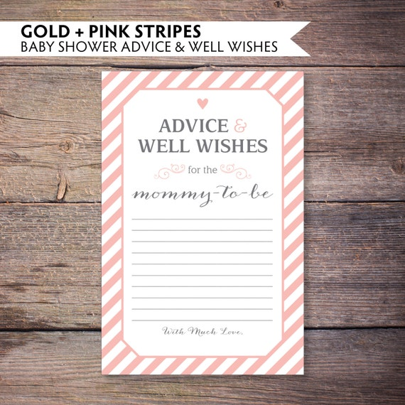 blush pink and gray baby shower advice and well wishes for mommy to be