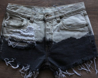 Ombre Denim Shorts Vintage Jeans High Waisted DIY Ripped Handmade Grunge Hipster