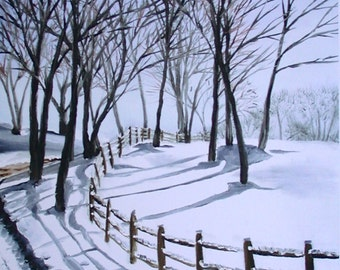 Snowy Winter Lane, Limited Edition Giclee Print, Landscape Painting, Snowy Print, Winter Print