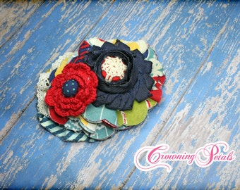 Dark Red, Navy Blue, Mustard Yellow, Ivory Hair Piece, M2M Mustard Pie Fall 2014, Crimson Fabric Flower Headband, Headband, Hair Accessory