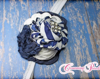 White, Navy Blue Hair Accessory, Dark Blue Headband, Flower Hair Piece, Navy Hair Clip, Fabric Flower Hair Bow, Blue Shabby  Flower Headband