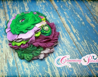 Green, Purple, Lavender Headband, Plum, Kelly Green, Tinker Belle Hair Clip, Fabric Flower Hair Piece, Hair Accessory, Accessories, Hairbow