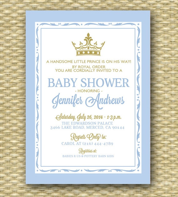 Printable Royal Baby Shower Invitation Royal Baby Boy Shower Little