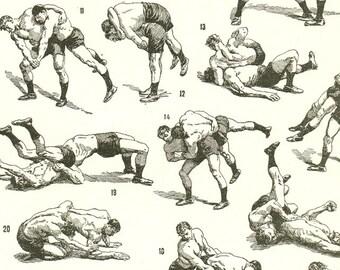 Wrestling art 1936 French print Vintage wrestling poster wrestling print Wrestling decor Wrestling gift Old sports poster Gym decpr