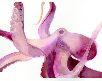"""Octopus Painting - Blushing Octopus - Fine Art Giclee Print 3/50 of 6""""x4"""" Purple and Pink Watercolor Painting"""