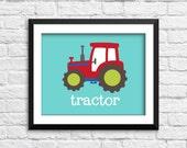 Tractor art print, transportation decor, farm nursery art, baby boy nursery posters, red tractor art print, construction decor, E-1007