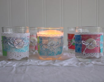 SALE Shabby Chic Paper and Lace Wrapped Glass Tea Light Votive