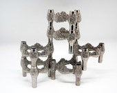 "Set of 6 Mid Century modular ""Brutalist"" candle holders"